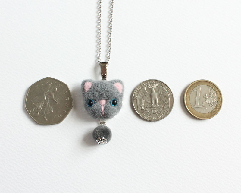 Needle Felted Blue Eye Gray Cat Necklace or Brooch or Ring or Shawl Pin - product images  of
