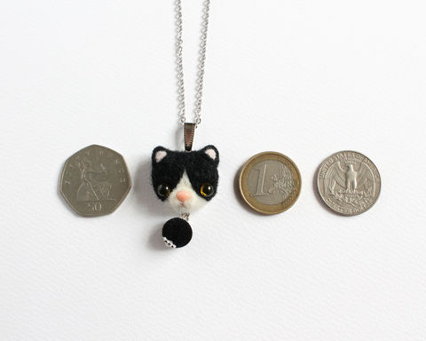 Needle Felted Tuxedo Cat Necklace or Brooch or Ring or Shawl Pin - product images  of