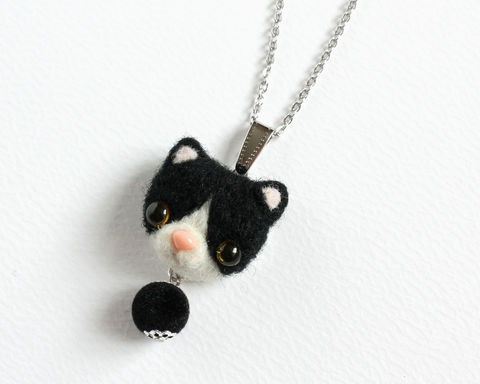 Needle,Felted,Tuxedo,Cat,Necklace,or,Brooch,Ring,Shawl,Pin,needle felted tuxedo cat, black tuxedo cat jewelry, tuxedo cat necklace, needle felted black cat, black cat necklace, wool black cat, tuxedo cat brooch, tuxedo cat ring, black cat brooch, black cat ring