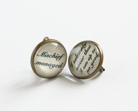 Marauders,Spells,Leverback,Earrings,harry potter earrings, marauders map earrings, mischief managed earrings, solemnly swear earrings, i solemnly swear i am up to no good earrings, bronze leverback earrings