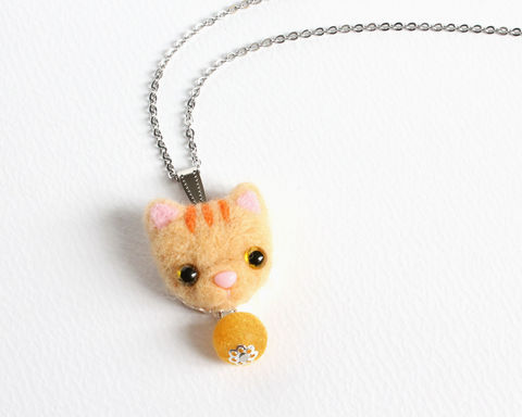 Needle,Felted,Orange,Tabby,Cat,Necklace,or,Brooch,Ring,Shawl,Pin,needle felted orange cat, needle felted tabby cat, orange tabby cat necklace, needle felted cat necklace, yellow tabby cat necklace, tabby cat jewelry, wool cat necklace, wool orange cat