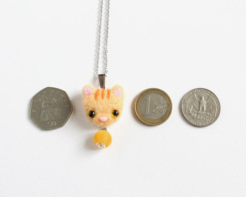 Needle Felted Orange Tabby Cat Necklace or Brooch or Ring or Shawl Pin - product images  of