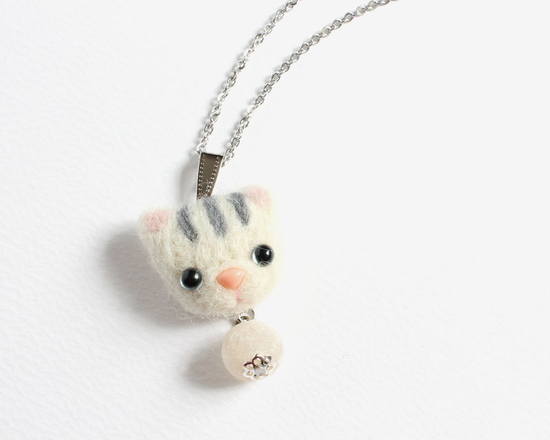 Needle Felted White Tabby Cat Necklace or Brooch or Ring or Shawl Pin - product images  of