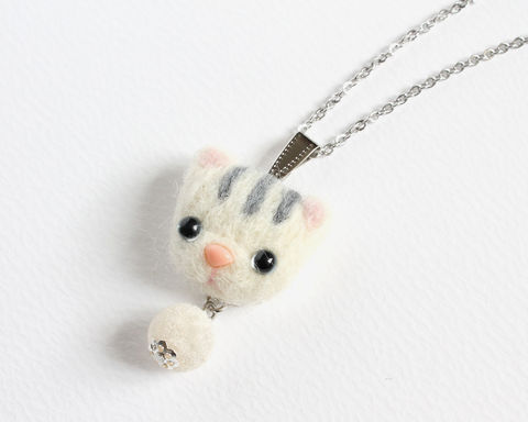 Needle,Felted,White,Tabby,Cat,Necklace,or,Brooch,Ring,Shawl,Pin,needle felted white cat, needle felted white tabby cat, white tabby cat necklace, needle felted cat necklace, white gray stripe cat, white gray cat, white cat jewelry, white cat necklace, white cat brooch