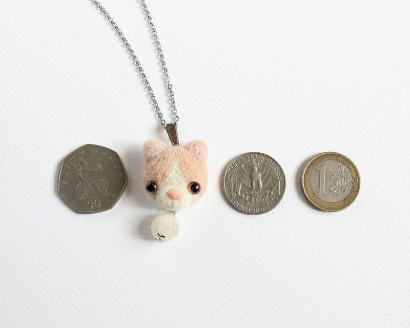 Needle Felted Cream Cat Necklace or Brooch or Ring or Shawl Pin - product images  of