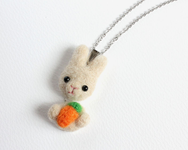 Needle Felted Wool Sandy Rabbit with Carrot Necklace or Brooch or Ring or Shawl Pin - product images  of