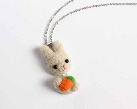 Needle,Felted,Wool,Sandy,Rabbit,with,Carrot,Necklace,or,Brooch,Ring,Shawl,Pin,sandy bunny necklace, beige rabbit necklace, light brown bunny, creamy white rabbit, rabbit brooch, bunny brooch, rabbit ring, bunny ring, bunny and carrot necklace, rabbit carrot necklace