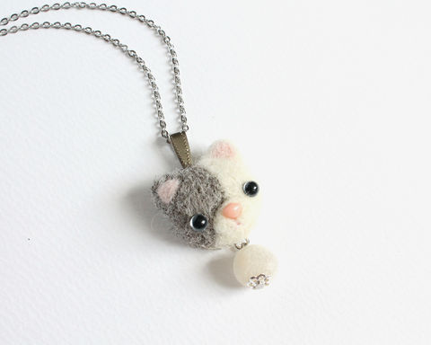 Needle,Felted,White,and,Gray,Cat,necklace,or,brooch,ring,shawl,pin,needle felted white gray cat, needle felted cat necklace, white gray cat necklace, white gray cat jewelry, wool cat necklace, white gray cat brooch
