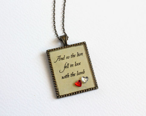 And,so,the,lion,fell,in,love,with,lamb,rectangular,pendant,necklace,(CLEARANCE),lion lamb necklace, twilight necklace, twilight saga necklace, twilight quotes necklace, edward bella necklace, twilight edward quote necklace