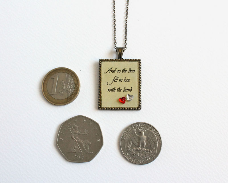And so the lion fell in love with the lamb rectangular pendant necklace (CLEARANCE) - product images  of