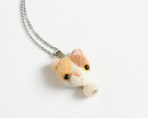 Needle Felted Pastel Calico Cat Necklace or Brooch or Ring or Shawl Pin - product images  of
