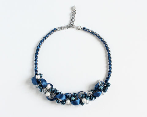 Navy Blue Pearl Cluster Necklace and Earrings Set - product images  of