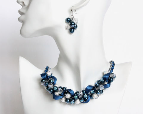 Navy,Blue,Pearl,Cluster,Necklace,and,Earrings,Set,navy blue necklace, navy blue cluster necklace, navy blue pearl necklace, navy blue jewelry set, dark blue pearl necklace, dark blue jewelry set, dark blue cluster necklace