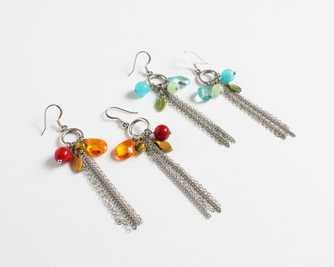 Long,Tassel,Earrings,with,Assorted,Beads,(2,colors,available),silver hoop earrings, assorted beads earrings, blue green earrings, red orange earrings, long tassel earrings, tassel with beads earrings, long thick tassel earrings