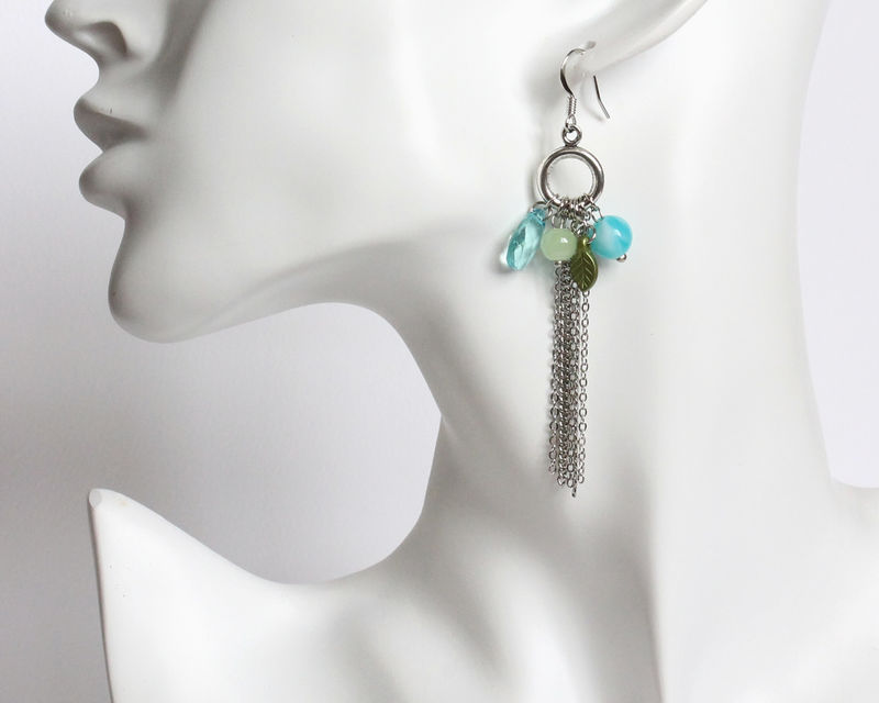 Long Tassel Earrings with Assorted Beads (2 colors available) - product images  of