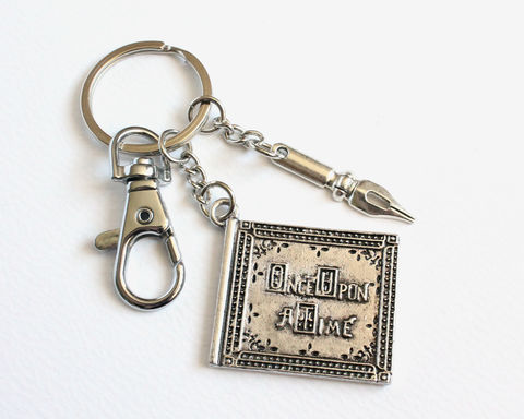 Once,Upon,A,Time,Book,and,Author's,Pen,Key,Chain,(OUAT),once upon a time book key chain, ouat key chain, once upon a time key chain, once upon a time storybook key chain, storybook and pen, ouat author's pen, ouat storybook key chain