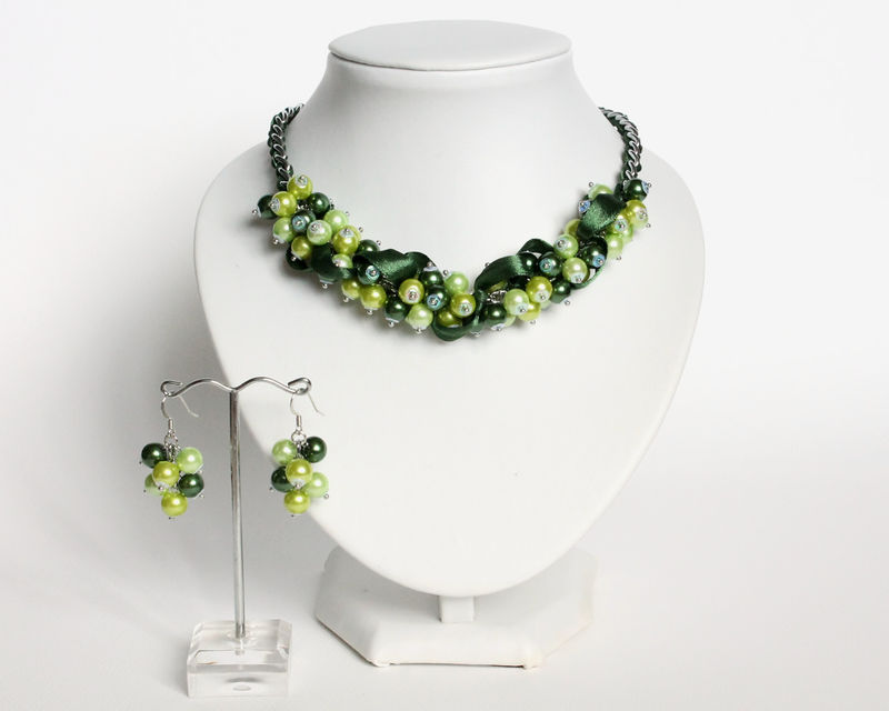 Green Bridesmaid Cluster Necklace and Earrings Set - product images  of