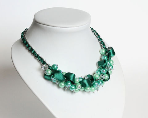 Turquoise Mint Green Cluster Necklace and Earrings Set - product images  of