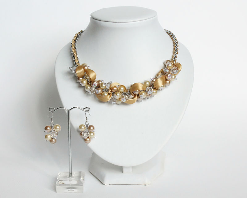 Champagne Gold Bridesmaid Cluster Necklace and Earrings Set - product images  of