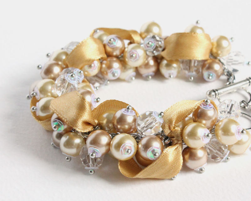 Champagne Gold Bridesmaid Cluster Bracelet and Earrings Set - product images  of