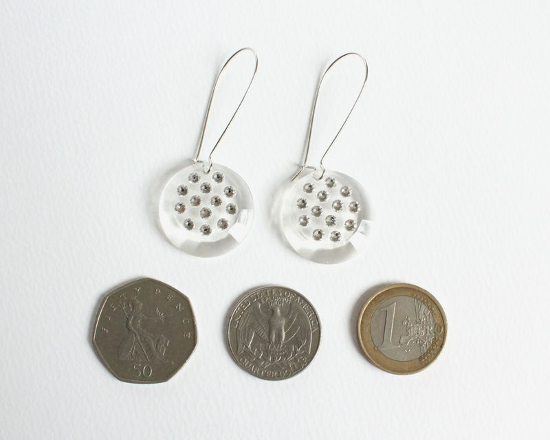 Caroline's Earrings with Swarovski Crystals (Transparent or Turquoise or Black) - product images  of