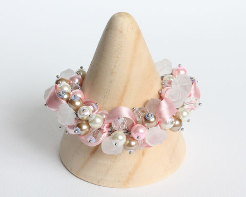 Pink Camel White Bridesmaid Cluster Bracelet and Earrings Set - product images  of