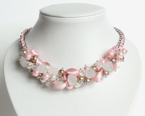 Pink Camel White Bridesmaid Cluster Necklace and Earrings Set - product images  of