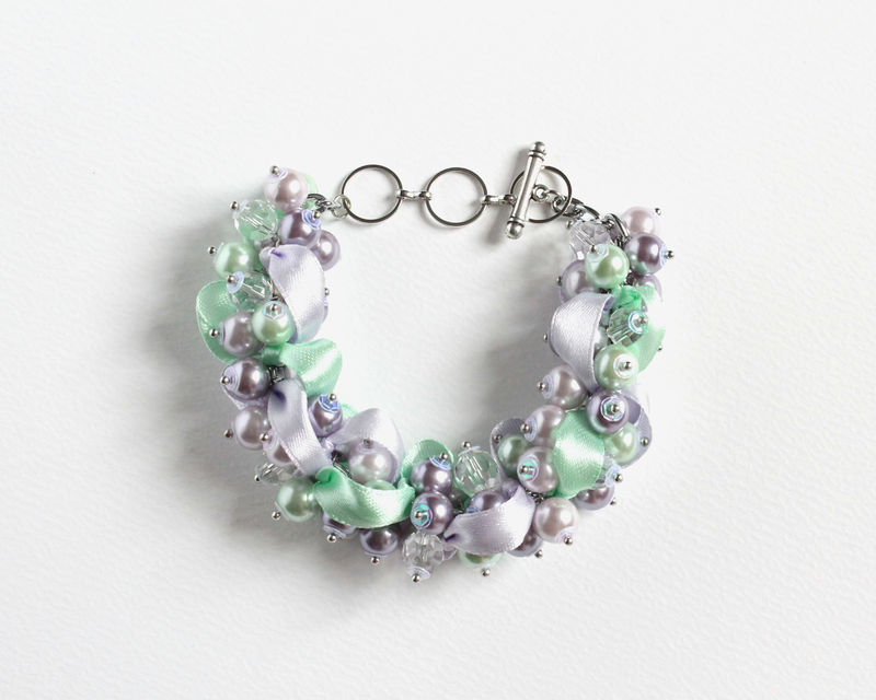 Lavender Mint Pearl Cluster Bracelet and Earrings Set - product images  of
