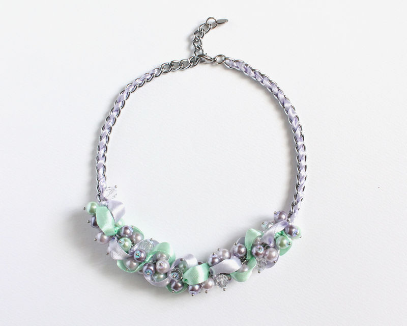 Lavender Mint Pearl Cluster Necklace and Earrings Set - product images  of