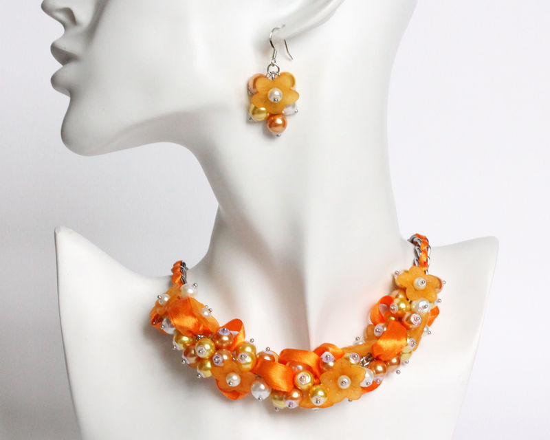 Pumpkin Orange Flower Cluster Necklace and Earrings Set - product images  of