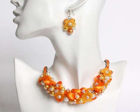 Pumpkin,Orange,Flower,Cluster,Necklace,and,Earrings,Set,orange necklace, pumpkin orange necklace, orange bridesmaid jewelry set, orange bridesmaid necklace, cluster necklace, flower necklace, pearl cluster necklace, orange flower necklace, orange pearl necklace, bridesmaid necklace and earring set