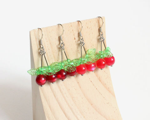 Cherry,Earrings,cherry earrings, red cherry earrings, pink cherry earrings, dark red cherry earrings, clip on cherry earrings, cherry clip on earrings, fruit earrings, cherry with leaves earrings