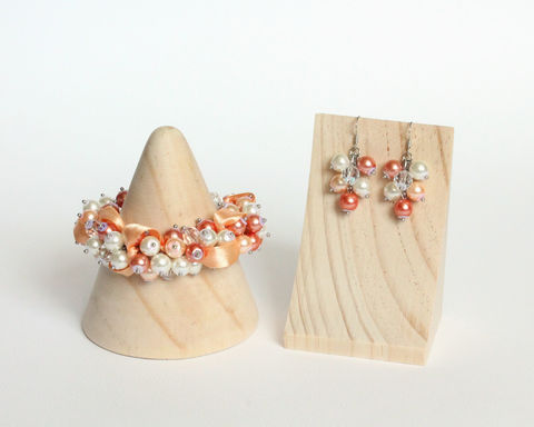 Peach Orange White Bridesmaid Cluster Bracelet and Earrings Set - product images  of