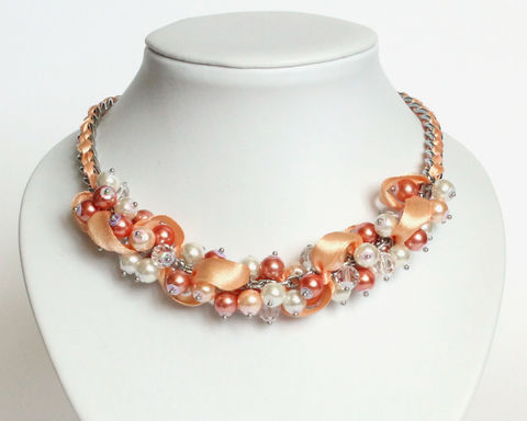 Peach Orange White Bridesmaid Cluster Necklace and Earrings Set - product images  of