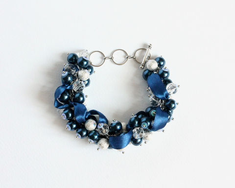 Navy Blue Pearl Cluster Bracelet and Earrings Set - product images  of