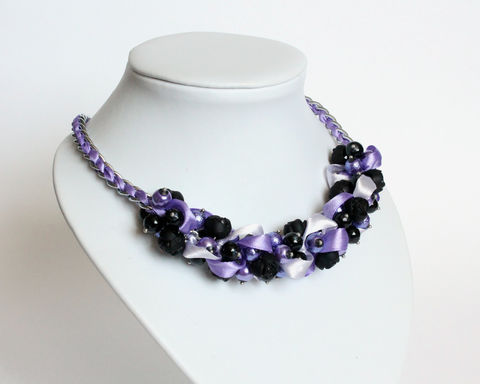 Purple Lavender Black Rose Cluster Necklace and Earring Set - product images  of