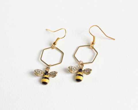 Bee,and,Honeycomb,Earrings,bee and honeycomb earrings, bee earrings, bee clip on earrings, bee and honey earrings, black and yellow bee earrings, bee dangle earrings