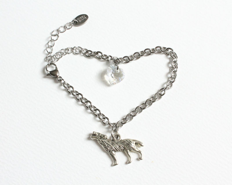 Wolf and Crystal Heart Stainless Steel Bracelet (Bronze or Silver Wolf) - product images  of