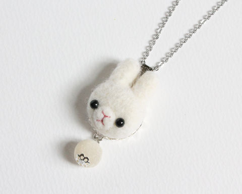 Needle Felted Wool White Rabbit necklace or brooch or ring or shawl pin - product images  of