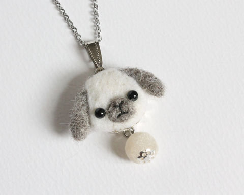 Needle Felted White Gray Lop Bunny necklace or brooch or ring or shawl pin - product images  of