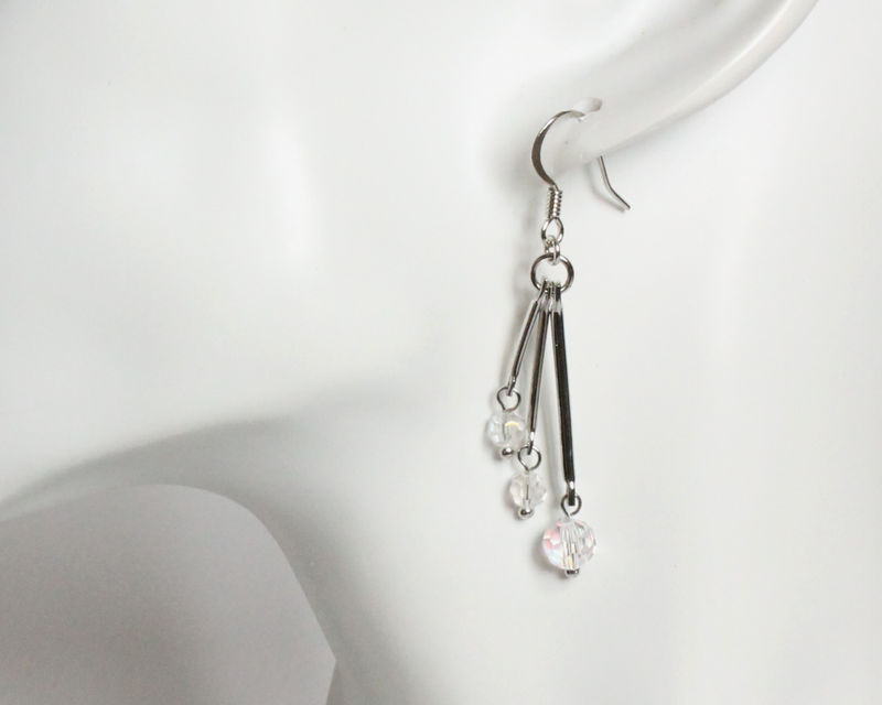 Facet crystal beads on three bars earrings - product images  of