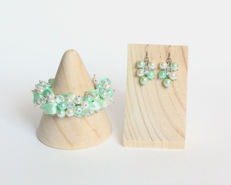 Mint Green Cluster Bracelet and Earrings Set - product images  of