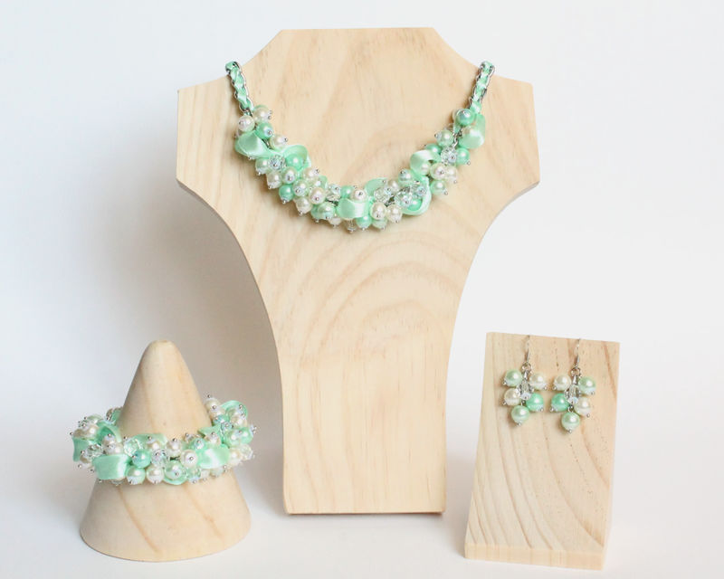 Mint Green Cluster Necklace and Earrings Set - product images  of