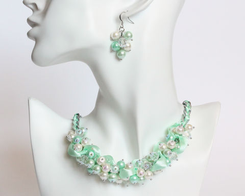 Mint,Green,Cluster,Necklace,and,Earrings,Set,mint green necklace, mint green pearl necklace, mint green cluster necklace, mint pearl necklace, mint green bridesmaid necklace, mint bridesmaid jewelry, mint green wedding jewelry