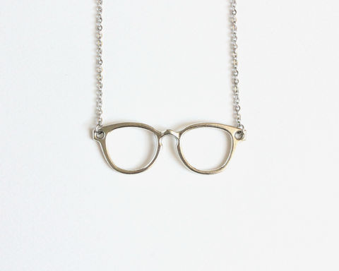 Silver,Glasses,Necklace,silver glasses necklace, glasses necklace, large glasses necklace, harry potter glasses necklace, hipster necklace, hipster glasses necklace, glasses statement necklace