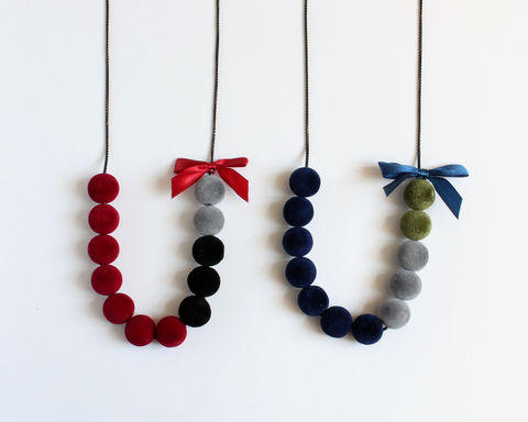Velvet,Balls,Long,Necklace,with,Ribbon,(Red,or,Blue,theme),velvet beads necklace, velvet balls necklace, velvet long necklace, red velvet bead necklace, blue velvet bead necklace, red black gray long necklace, blue gray green long necklace