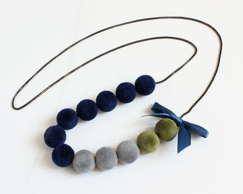 Velvet Balls Long Necklace with Ribbon (Red or Blue theme) - product images  of