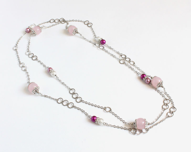 Pink and magenta round beads with mini silver hoops extra long necklace / double necklace - product images  of