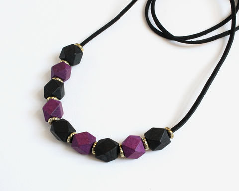 Hexagon,Purple,Black,Wooden,Blocks,Long,Necklace,hexagon wooden block long necklace, purple black long necklace, hexagonal block necklace, wooden bead long necklace