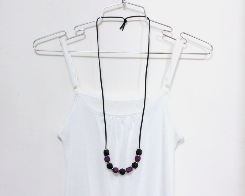 Hexagon Purple Black Wooden Blocks Long Necklace - product images  of